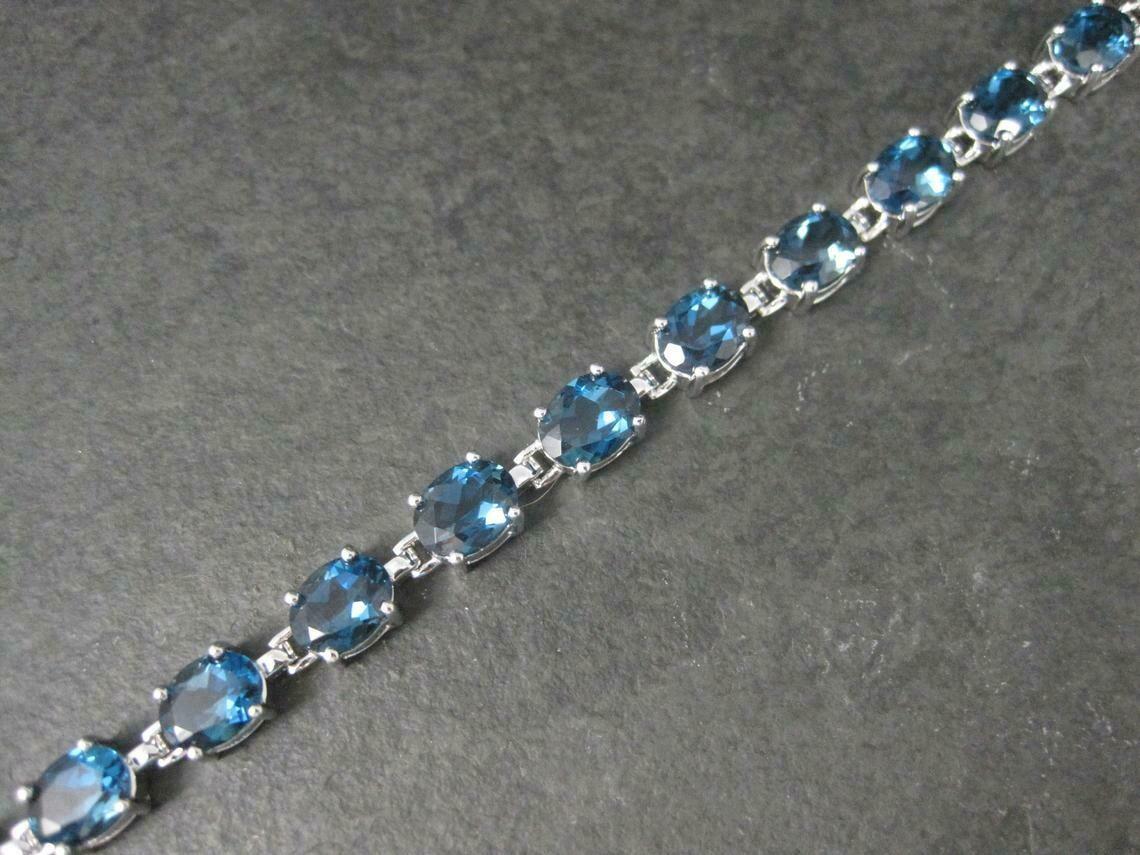 Estate Sterling 29 Carat Blue Topaz Bracelet 7.5 Inches