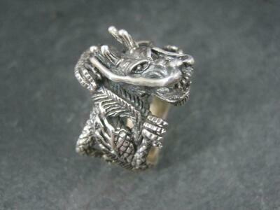 Huge Estate Sterling Dragon Ring Size 10.5