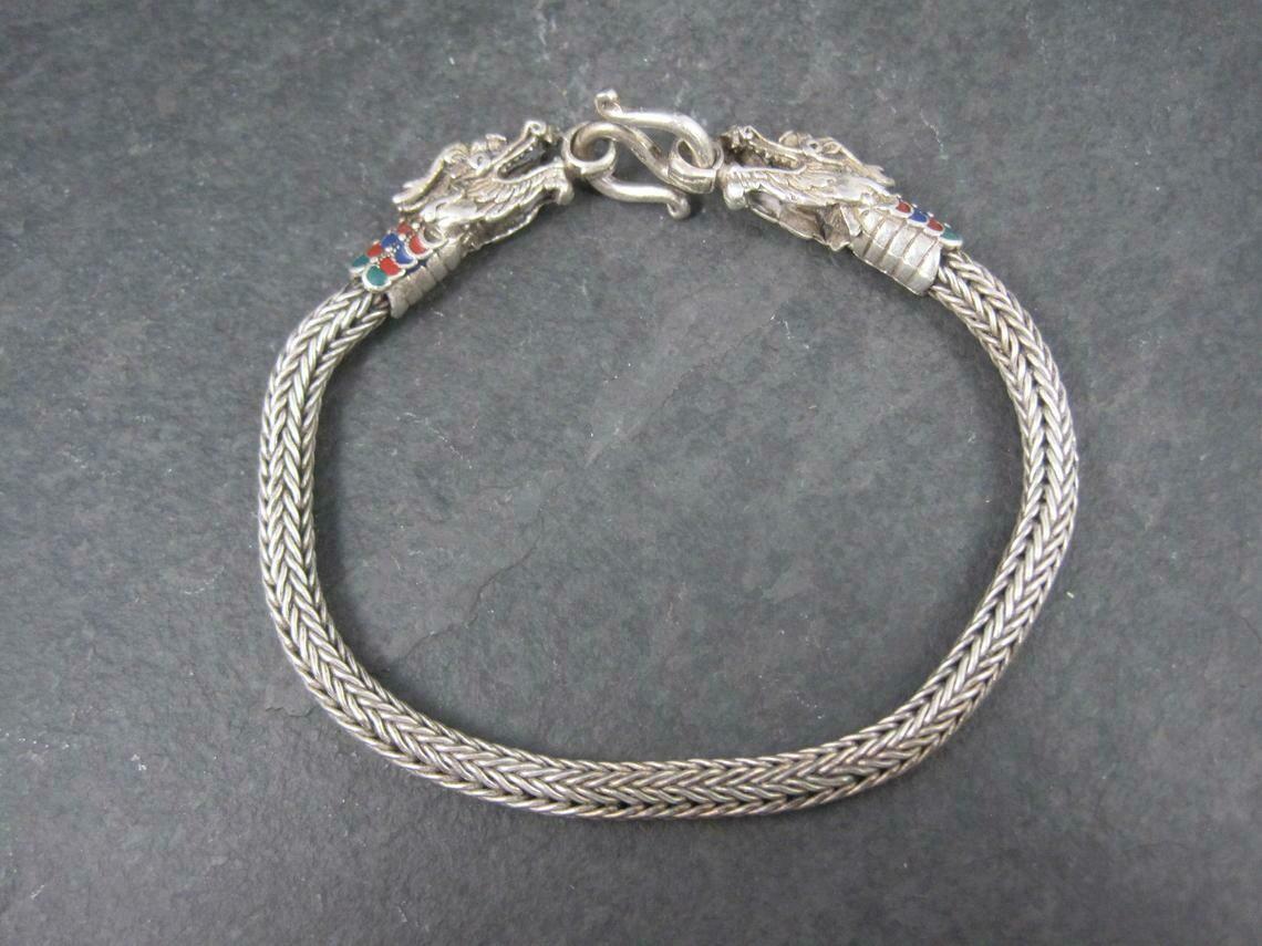 Vintage Sterling Enamel Dragon Bracelet 8 Inches
