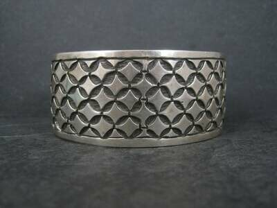 Vintage Mexican Sterling Tribal Cuff Bracelet