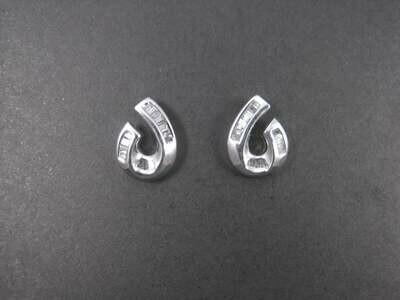 Vintage 10K White Gold .40 Ctw Baguette Diamond Earrings