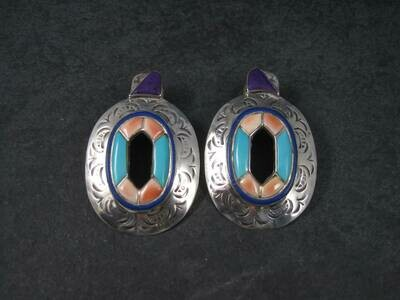 Large Vintage Southwestern Turquoise Spiny Oyster Inlay Earrings