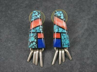 Vintage Native American Turquoise Spiny Oyster Inlay Earrings