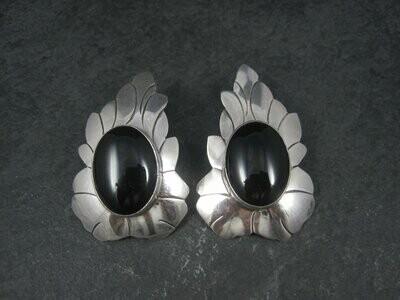 Signed Huge Vintage Southwestern Sterling Onyx Earrings