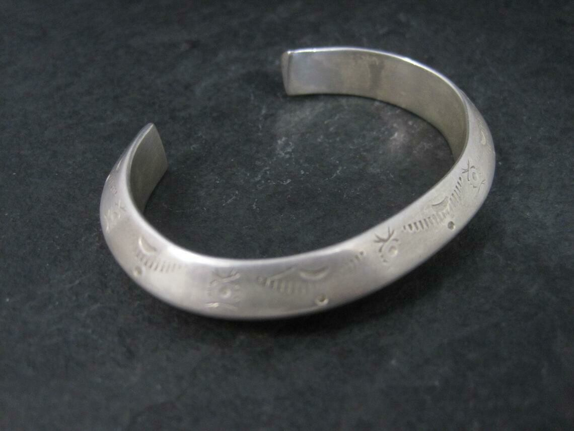 """Small Heavy Native Sterling Stamped Carinated Cuff Bracelet 5.75"""""""