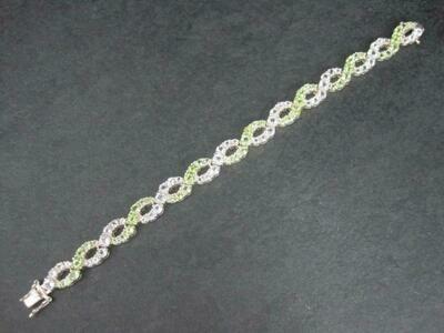 Estate Sterling Peridot White Topaz Bracelet 7.25 Inches