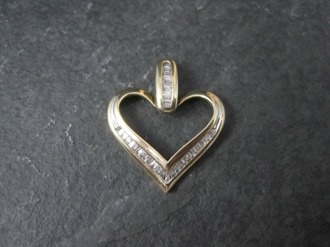 Estate 10K Diamond Heart Pendant