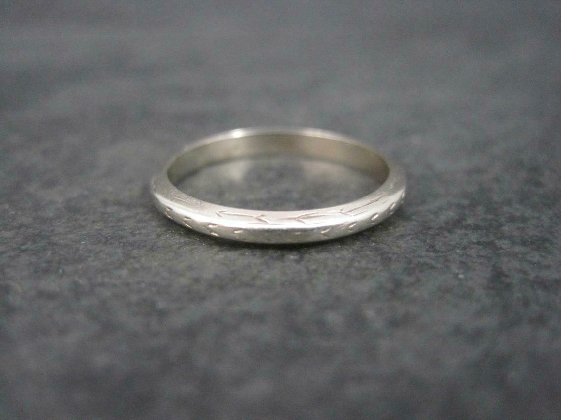 Antique 14K White Gold Wedding Band Ring Size 7