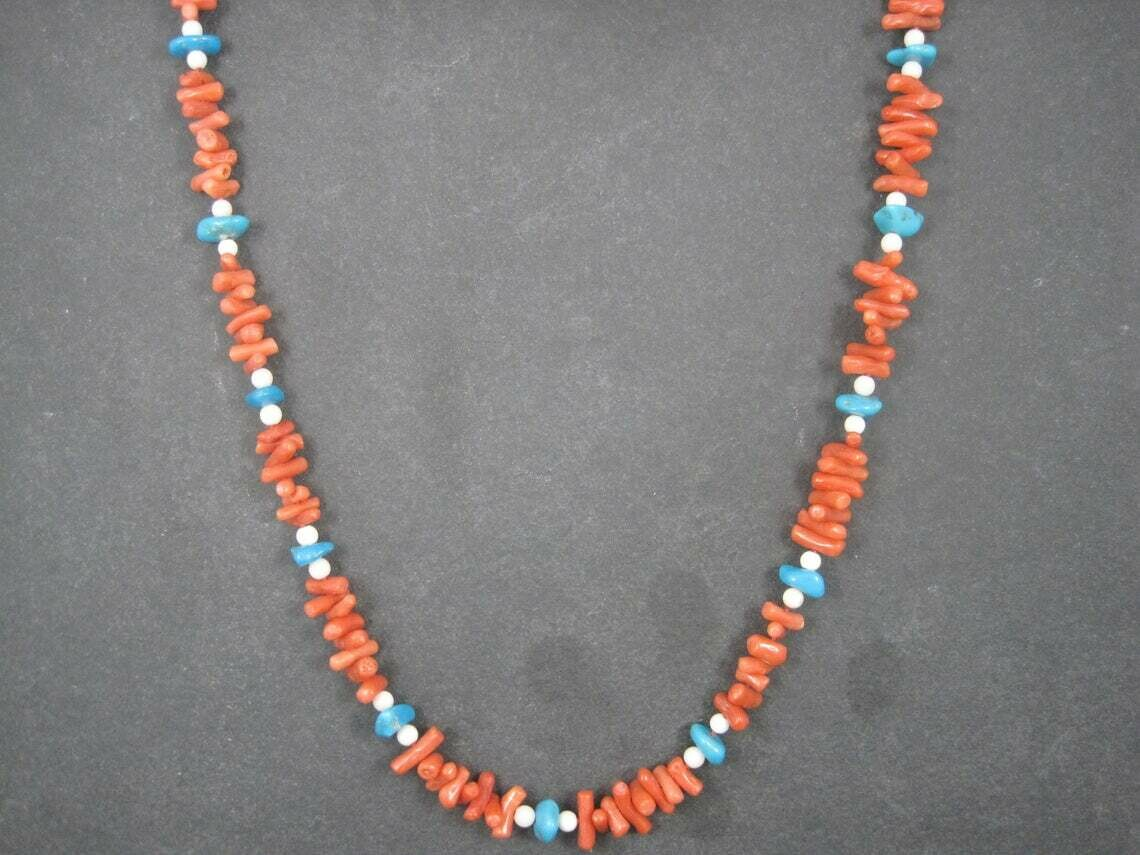 Estate Chinese Export Coral Turquoise Necklace 30 Inches