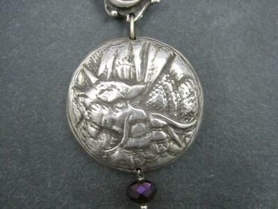 Heavy Sterling Amethyst Dragon Moon Pendant Necklace