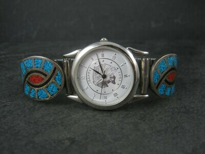 Vintage Southwestern Sterling Turquoise Coral Hummingbird Watch