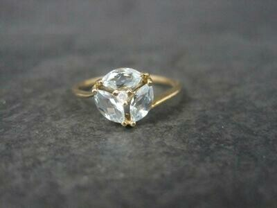 Vintage 10K Aquamarine Diamond Ring Size 7.25