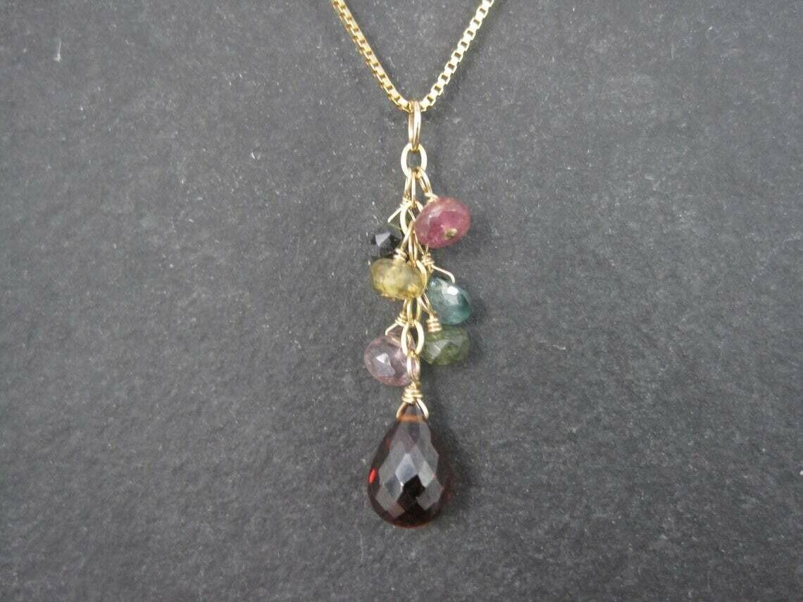 Estate 14K Briolette Gemstone Pendant Necklace