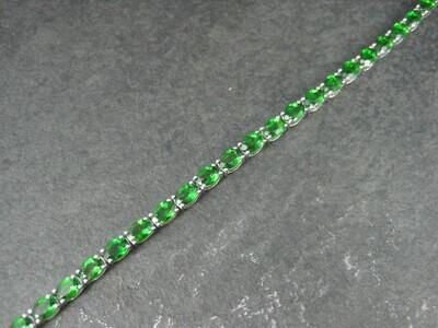 Estate Sterling Chrome Diopside Bracelet 7.25 Inches