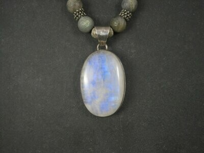 Large Rainbow Moonstone Labradorite Pendant Necklace 17 Inches