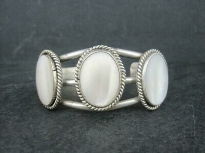 Southwestern Sterling Mother of Pearl Cuff Bracelet 6 Inches