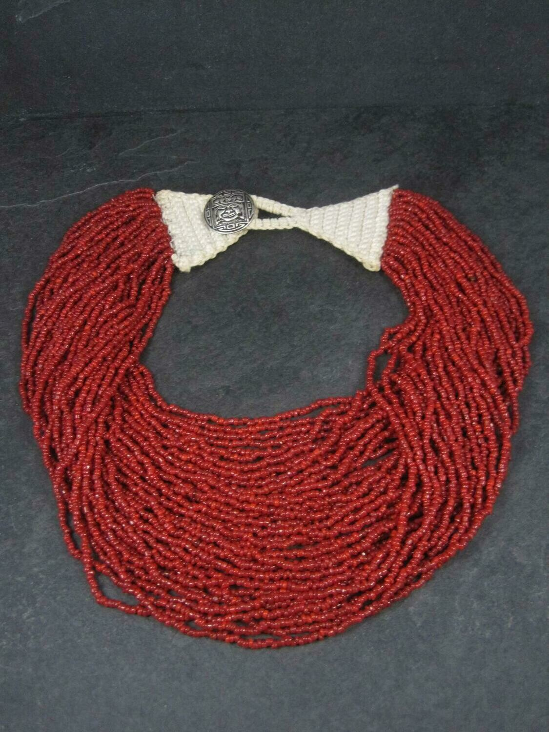 Southwestern Estate 40 Strand Coral Bead Necklace 20.5 Inches