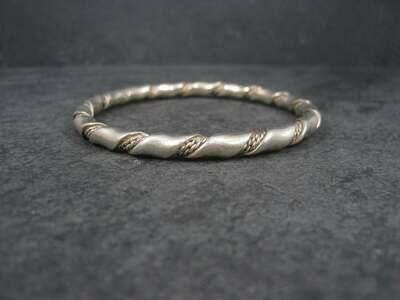 Heavy Vintage Twisted Sterling Bangle Bracelet 7.75 Inches