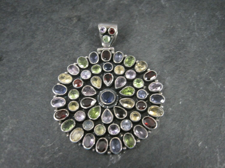 Large Sterling Gemstone Cluster Pendant