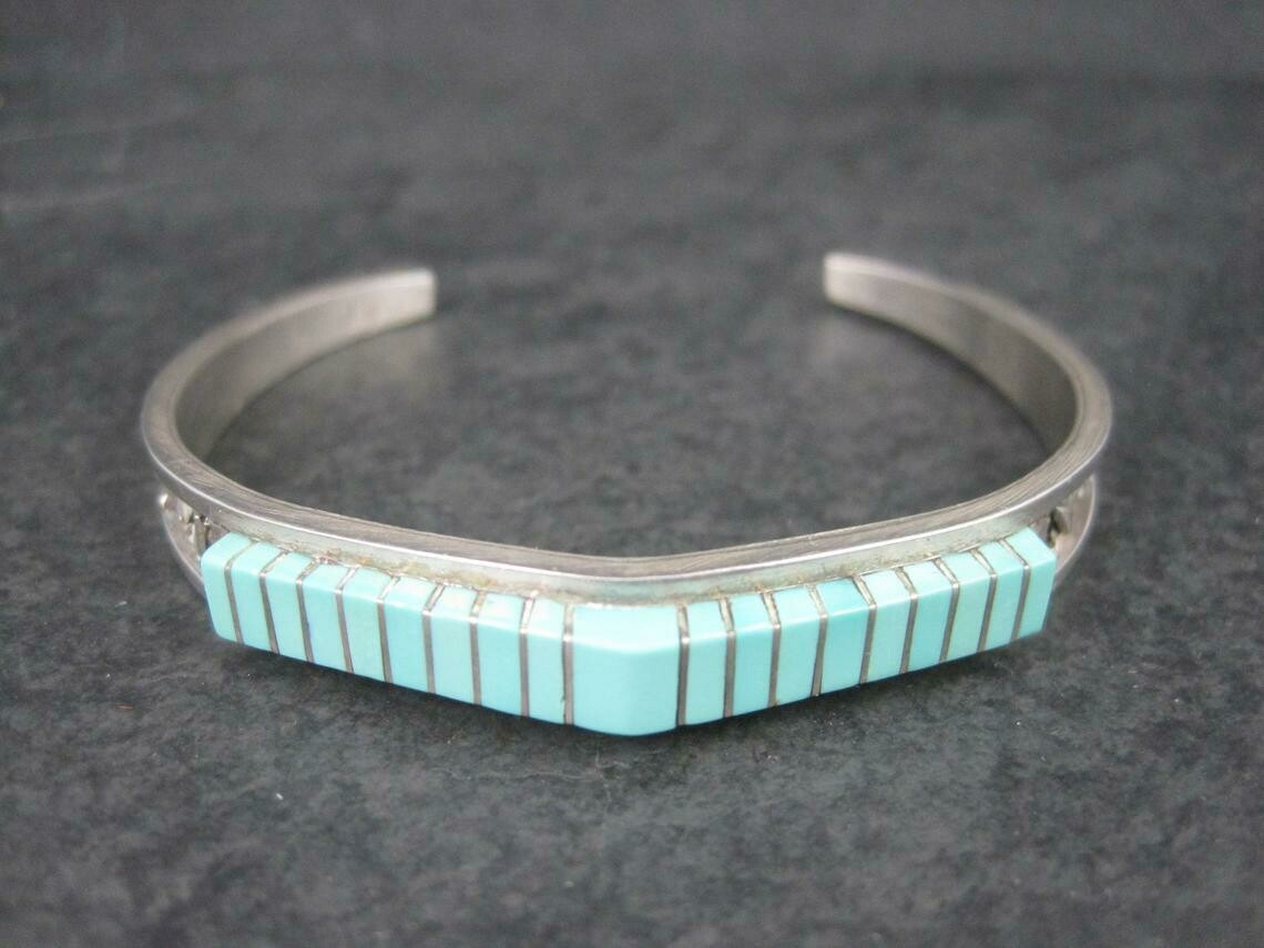Southwestern Raised Turquoise Inlay Cuff Bracelet Sterling 6 Inches