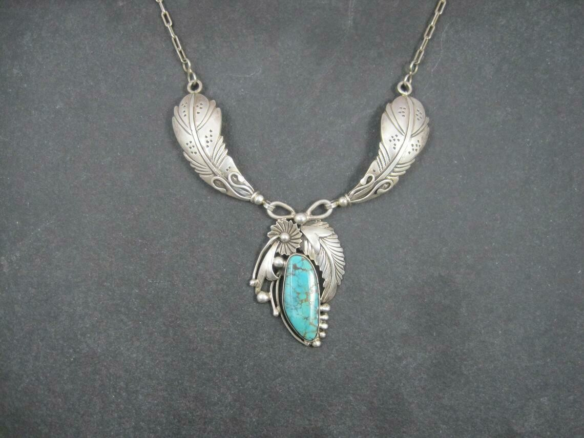 Estate Southwestern Sterling Turquoise Feather Necklace