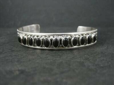 Estate Southwestern Sterling Onyx Cuff Bracelet 6.5 Inches