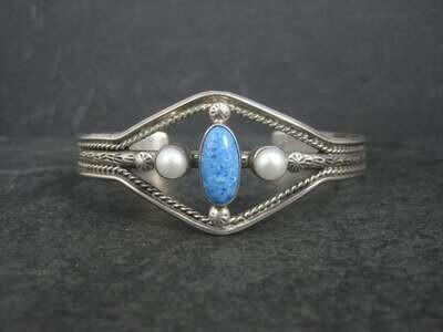 Vintage Southwestern Sterling Denim Lapis Pearl Cuff Bracelet 6.5 Inches
