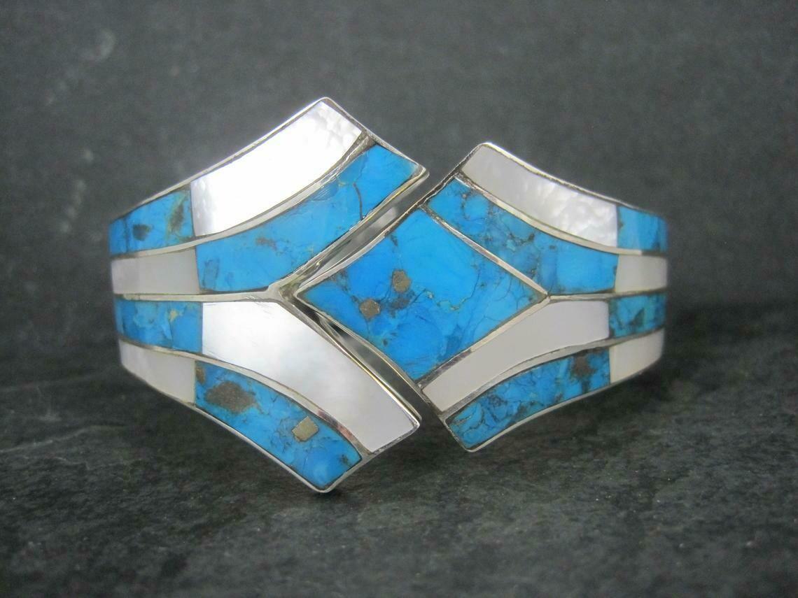 """Vintage Southwestern Sterling Turquoise Mother of Pearl Clamper Bracelet 6.75"""""""