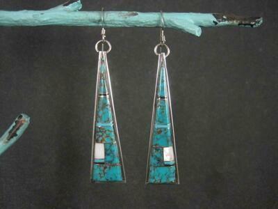 Long Southwestern Turquoise Inlay Earrings