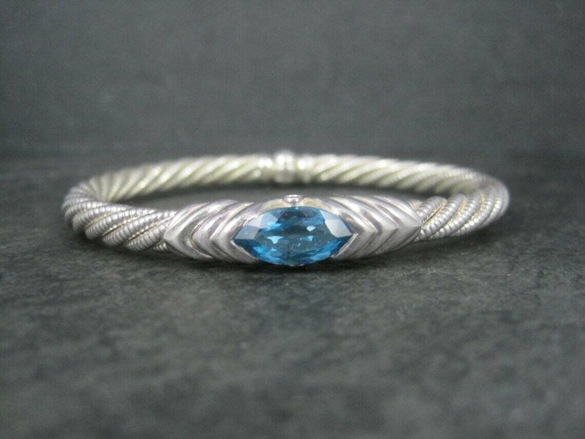 Estate Sterling Topaz Sapphire Bangle Bracelet