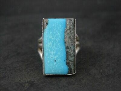 Large Vintage Southwestern Sterling Turquoise Ring Size 11