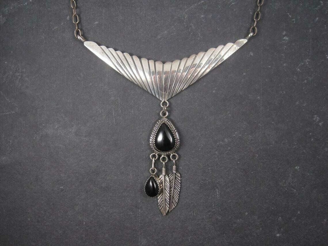 Estate Sterling Navajo Asymmetrical Onyx Feather Necklace