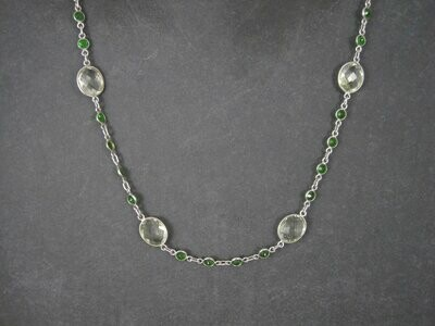 Vintage Sterling Green Amethyst Chrome Diopside Necklace 17.5 to 18.5 Inches