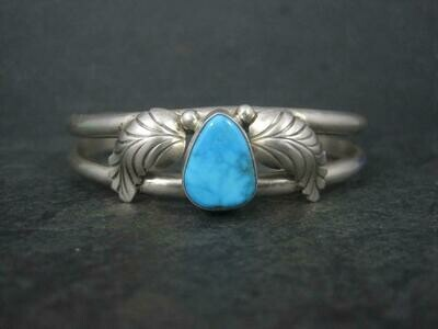 Estate Southwestern Sterling Turquoise Cuff Bracelet 6.25 Inches