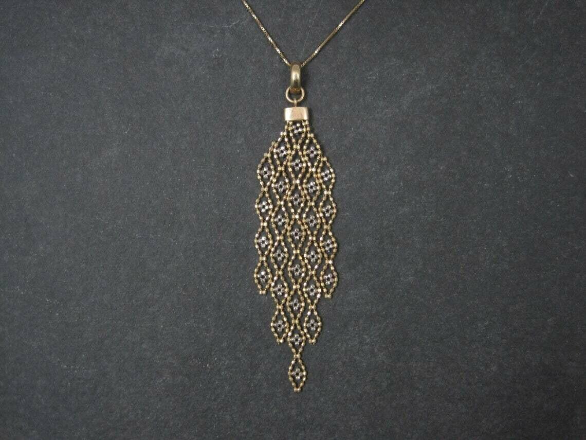 Vintage Unique 10K White and Yellow Gold Pendant Necklace
