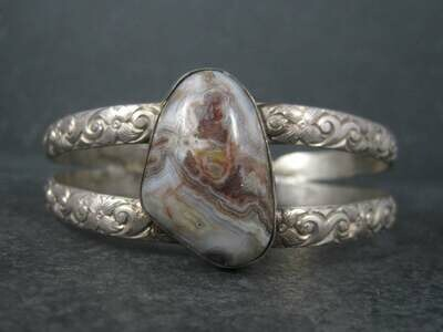 Vintage Sterling Floral Agate Cuff Bracelet 7 Inches