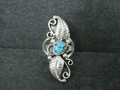 Southwestern Sterling Turquoise Feather Ring Size 7