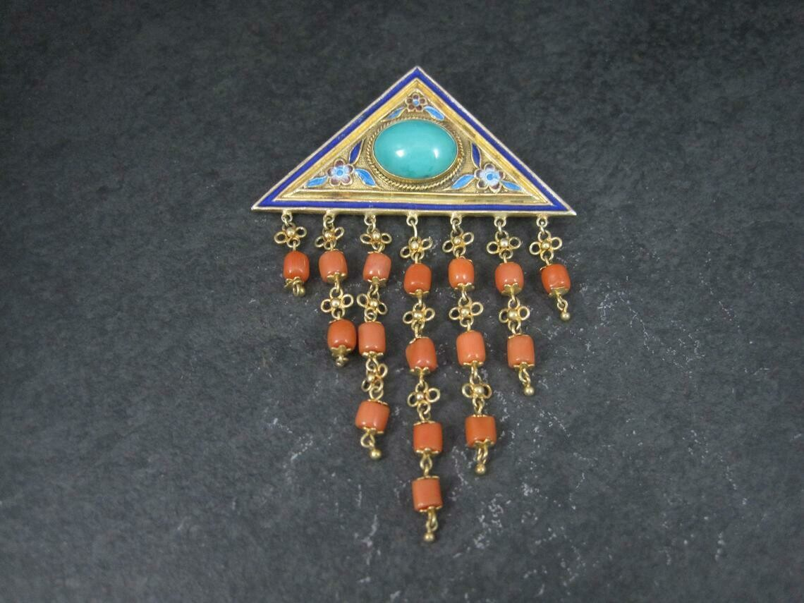 Estate Chinese Turquoise Coral Enamel Brooch