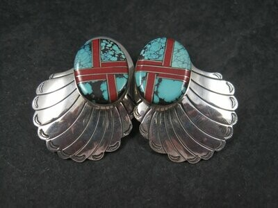 Large Vintage Sterling Navajo Turquoise Coral Inlay Earrings