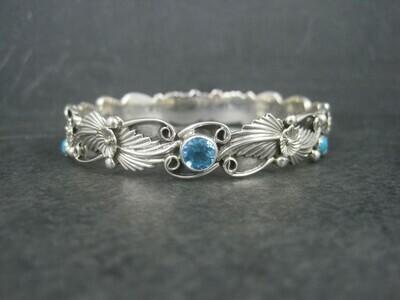 Navajo Sterling Topaz Turquoise Bangle Bracelet