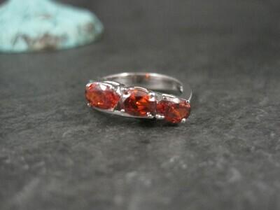 Estate 10K White Gold Garnet Ring Size 6