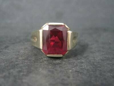 Mens Art Deco 10K Ruby Ring Size 13