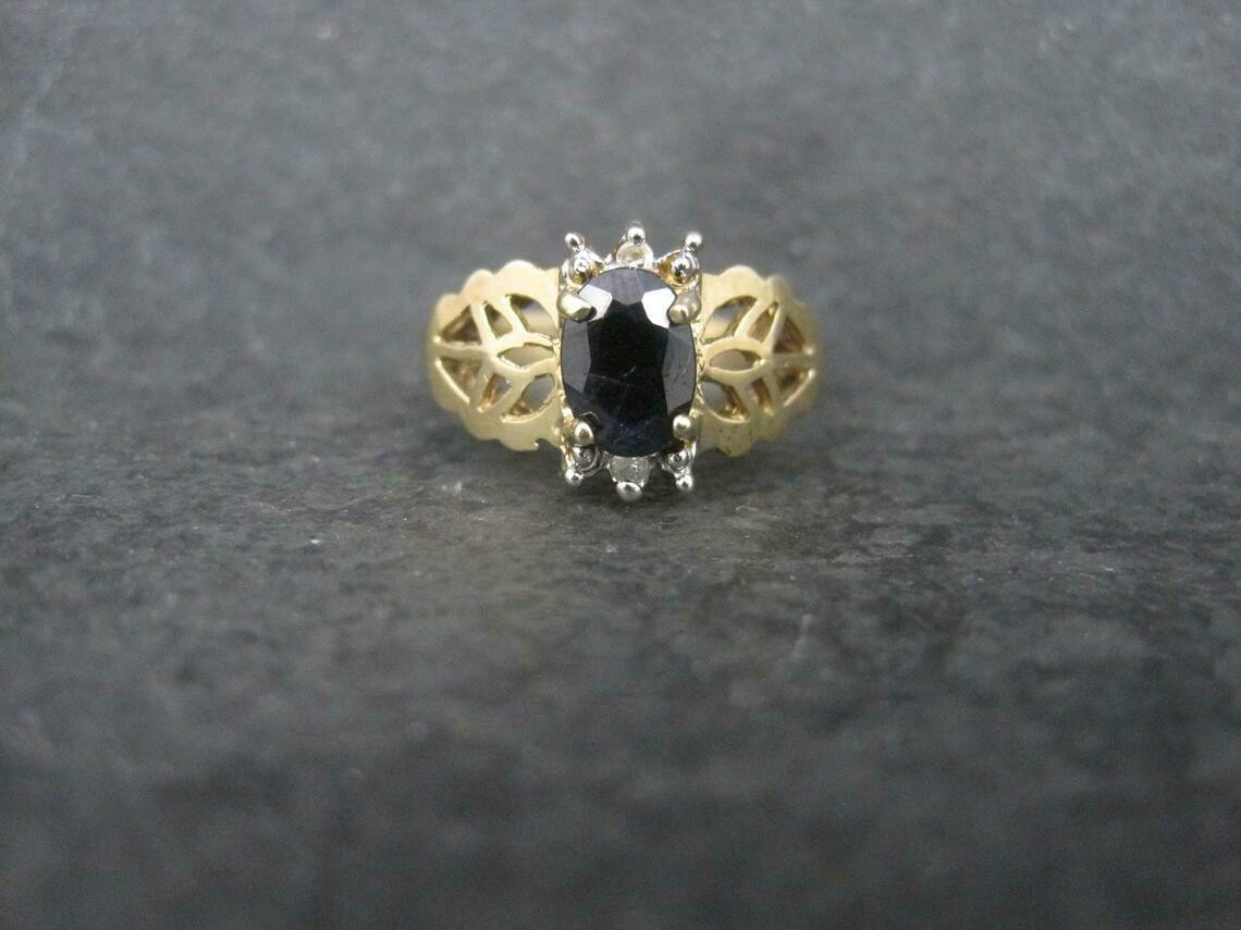 Estate 10K Sapphire Diamond Ring Size 6.5