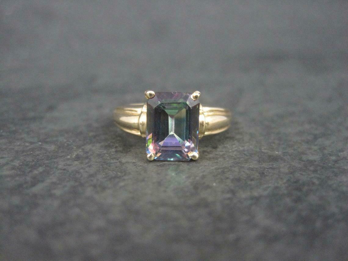 Estate 10K Mystic Topaz Ring Size 6