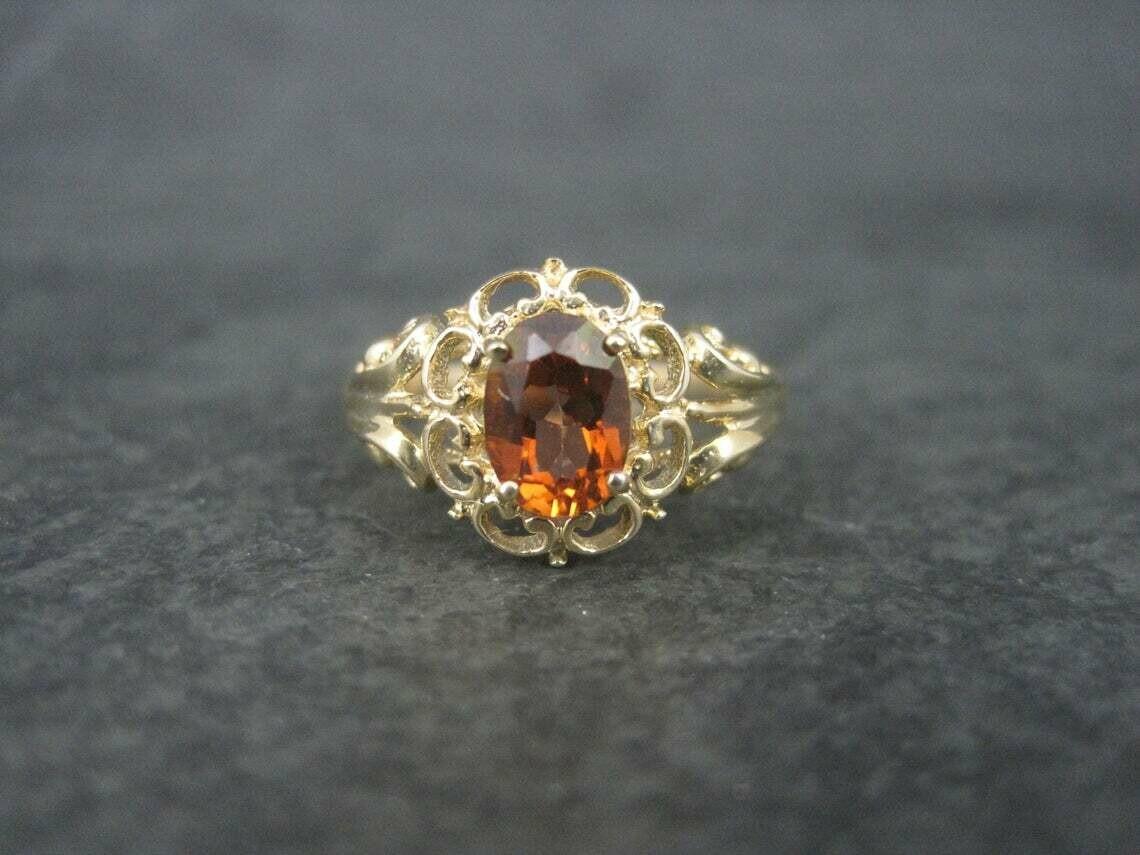 Estate 10K Orange Topaz Ring Size 8