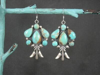 Large Navajo Sterling Turquoise Earrings
