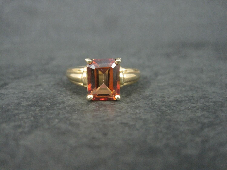 Estate 10K Red Orange Topaz Ring Size 6