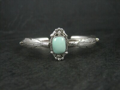 Southwestern Sterling Turquoise Feather Cuff Bracelet 6.25 Inches
