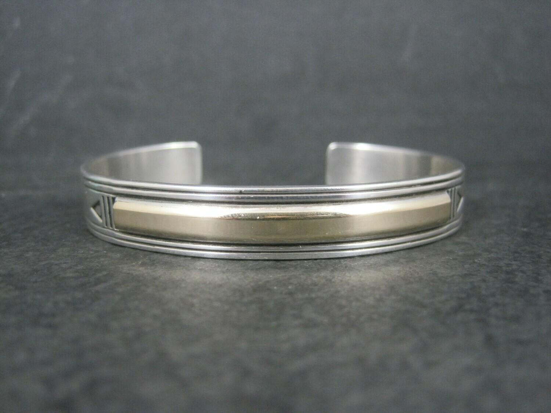 Vintage Southwestern Sterling 14K Cuff Bracelet 6.75 Inches