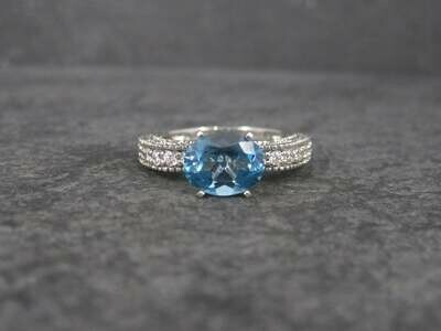 Oval Blue Topaz Engagement Ring Sz 8